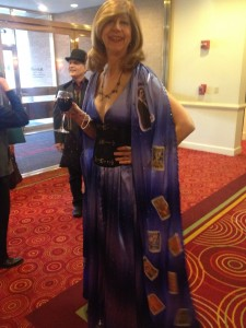 Jeannette of Tarot Garden wins best outfit AGAIN. She made this thing! (Decked with faces of famous Tarot women. Yeah. She wins.)