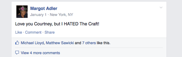 "A public condemnation of my screening of ""The Craft."" I've never been so proud to be condemned in my life."