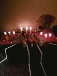 Altar from my Coven's Samhain three years ago, just after Super-Storm Sandy. The candles were meant to honor those who had passed over in the previous year, particularly those lost to the storm.