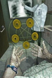 The Five of Disks from The Urban Tarot Project by Robin Scott.